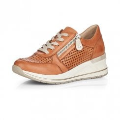 D3200-24 Tan Leather Wedge Trainer With Laces And Side Zip