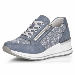 D3203-14 Blue trainer with laces and side zip
