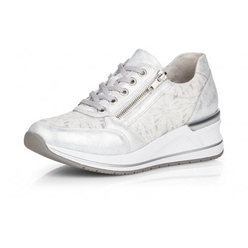 Remonte D3203-90 White Wedge Trainer With Laces And Side Zip.