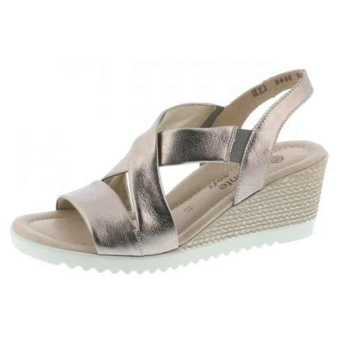 Remonte D3446-90 Bronze Leather Wedge Slip On Sandal