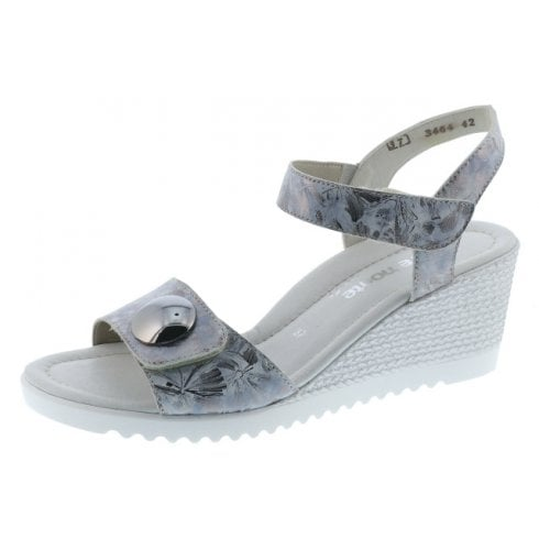 Remonte D3464-42 Silver Wedge Sandal With Velcro Straps