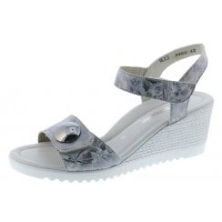 D3464-42 Silver Wedge Sandal With Velcro Straps