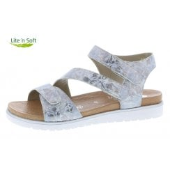 D4057-42 Silver/Platinum Leather Wedge Sandal With Velcro Straps