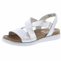 D4059-90 Silver Leather Flat Slip On Sandal