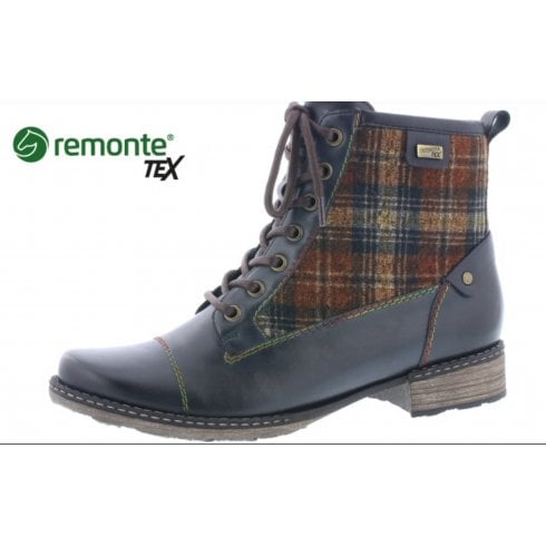 Remonte D4354-14 Blue leather gortex waterproof flat boot with laces and side zip