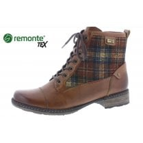 D4354-24 Tan leather gortex waterproof flat boot with laces and side zip