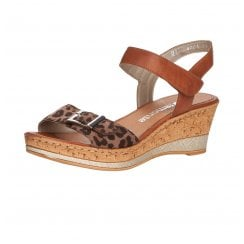 D4754-24 Brown/Animal Print Wedge Sandal With Velcro Straps