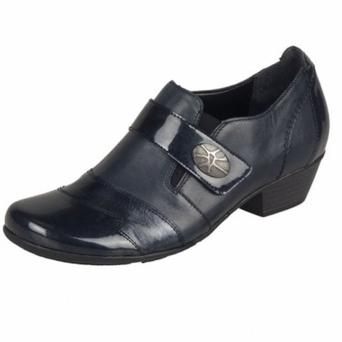 Remonte D7333-14 Navy Patent Leather Heeled Slip On Shoe
