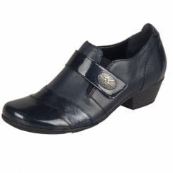 D7333-14 Navy Patent Leather Heeled Slip On Shoe