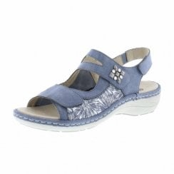 D7647-15 Blue Leather Flat Velcro Sandal