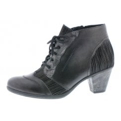 D8789-40 Black Leather Heeled Boot With Laces And Side Zip