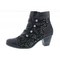 D8792-02 Black Leather Heeled Ankle Boot With Side Zip