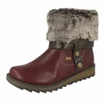 D8874-35 Red Gortex Waterproof Flat Ankle Boot With Side Zip