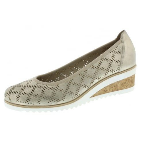 Remonte Gold/Beige Leather Wedge Espadrille Style Shoe