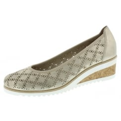 Gold/Beige Leather Wedge Espadrille Style Shoe