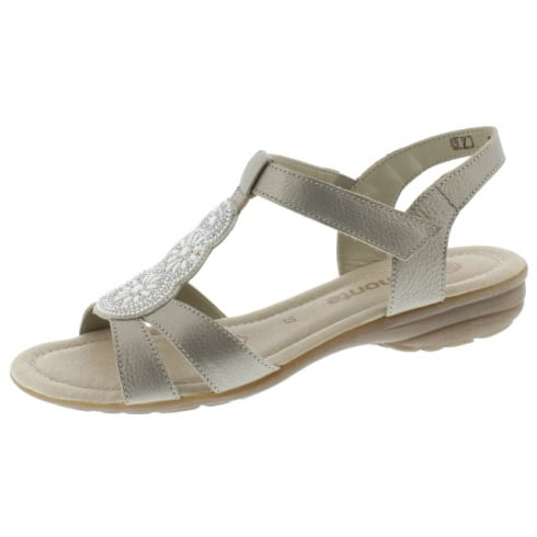 Remonte Gold flat sling back sandal with velcro strap