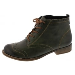Green leather heeled ankle boot with laces and side zip