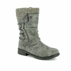 Grey Flat Gortex Mid Calf Boot With Side Zip Fastening