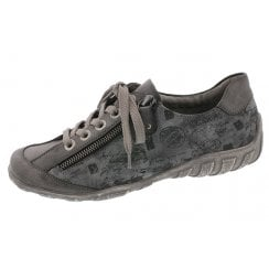 Grey flat shoe with laces and side zip