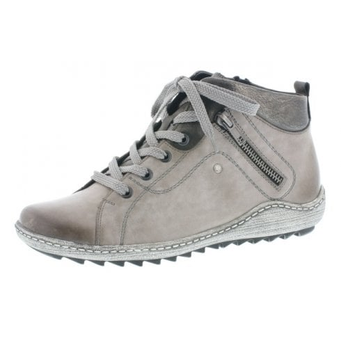 Remonte Grey leather flat boot with laces and side zip