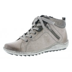 Grey leather flat boot with laces and side zip