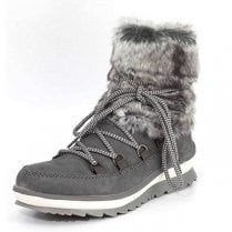 Grey leather fur topped flat gortex boot with side zip fastening