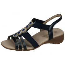 Navy blue flat sling back sandal