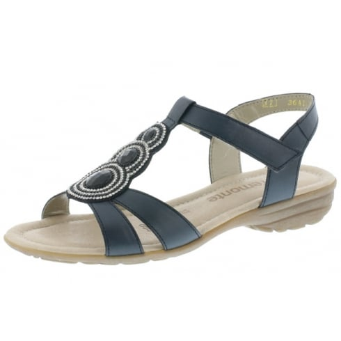 Remonte Navy blue flat sling back sandal with velcro strap