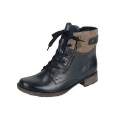 Navy blue leather flat ankle boot with laces and side zip fastening