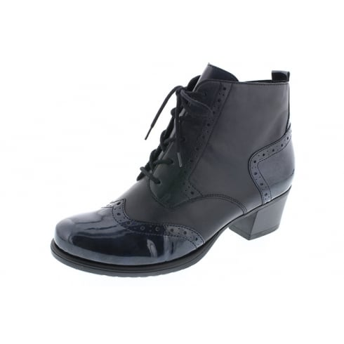 Remonte Navy blue leather heeled boot with laces and side zip