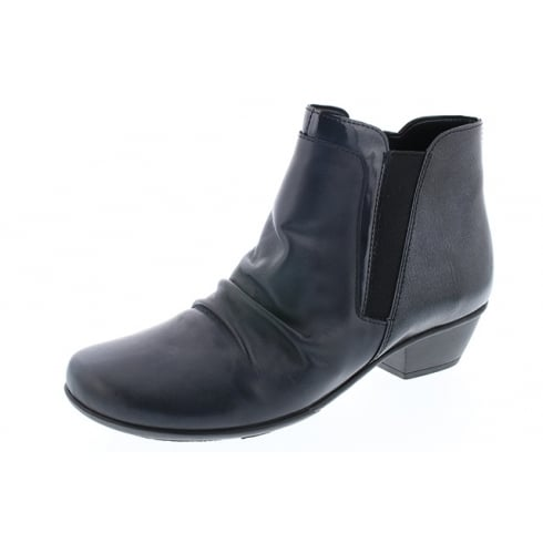 Remonte Navy blue leather heeled boot with side zip fastening