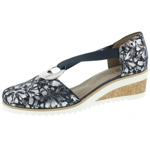 Remonte Navy/silver leather closed toe wedge sandal
