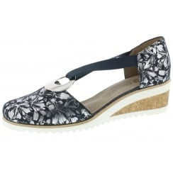 Navy/silver leather closed toe wedge sandal