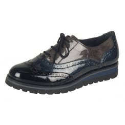 Patent multicoloured flat lace up shoe