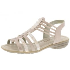 Pink/rose flat elasticated pull on sandal
