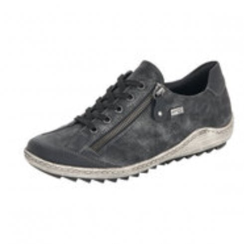 Remonte R1402-02 Black Gortex Flat Trainer With Laces And Side Zip