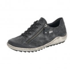 R1402-02 Black Gortex Flat Trainer With Laces And Side Zip