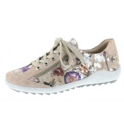 R1402-32 Beige Floral Flat Lace Up Trainer Style Shoe