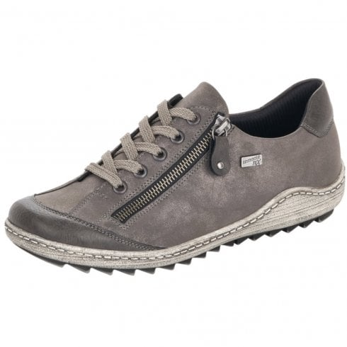 Remonte R1402-44 Grey Gortex Flat Trainer With Laces And Side Zip