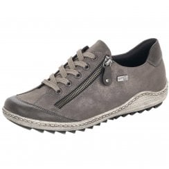 R1402-44 Grey Gortex Flat Trainer With Laces And Side Zip