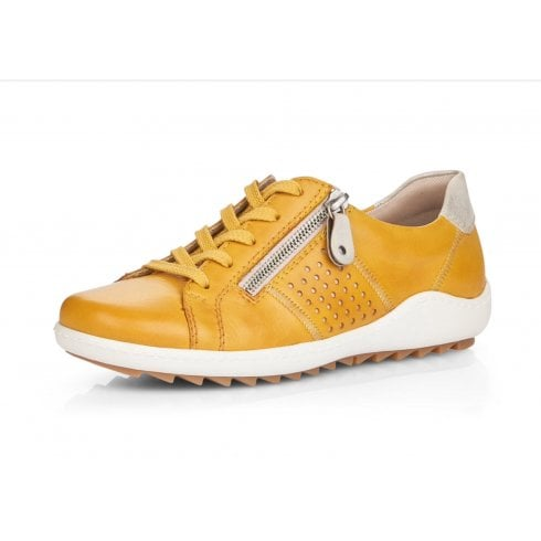 Remonte R1417-68 Yellow Leather Flat Lace Up Trainer Style Shoe With Side Zip.