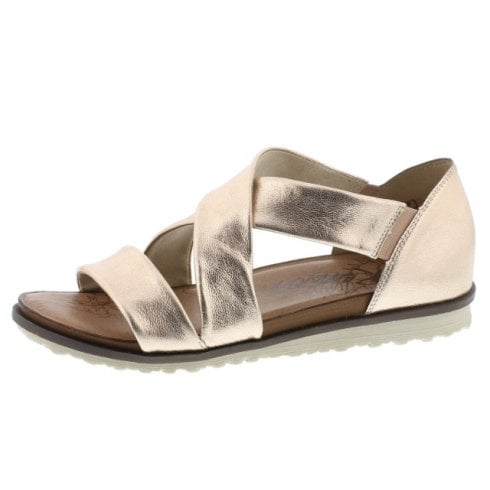 Remonte R2755-31 Gold Leather Flat Slip On Sandal