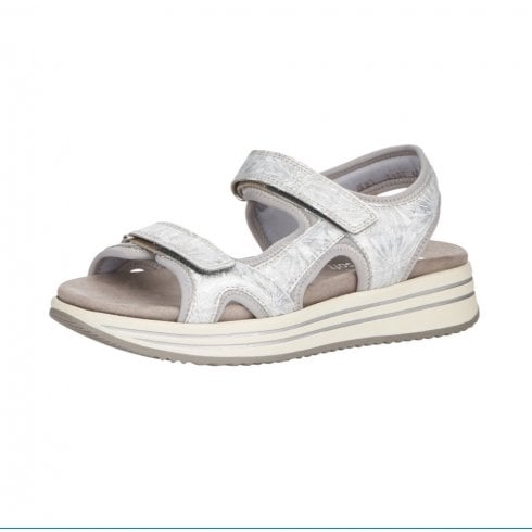Remonte R2957-40 Silver/Metallic Leather Flat Velcro Sandal