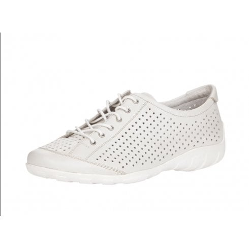 R3401-80 White Leather Flat Lace Up Trainer Style Shoe