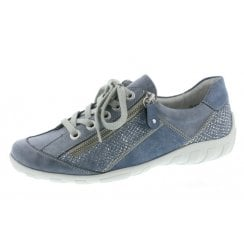 R3405-14 Blue Leather Flat Lace Up Trainer Style Shoe With Side Zip.