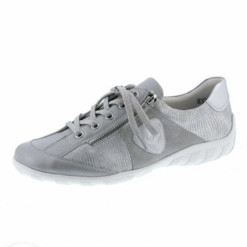 Remonte R3409-90 Silver Leather Flat Lace Up Trainer Style Shoe With Side Zip.