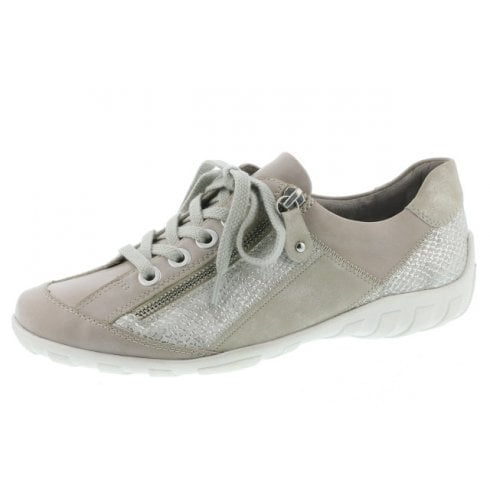 Remonte R3419-81 Beige Leather Flat Lace Up Trainer Style Shoe