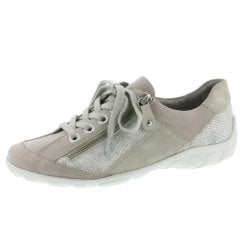 R3419-81 Beige Leather Flat Lace Up Trainer Style Shoe