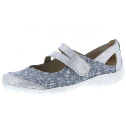 Remonte R3427-12 Blue Leather Floral Flat Mary Jane Style Shoe