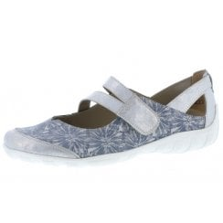 R3427-12 Blue Leather Floral Flat Mary Jane Style Shoe
